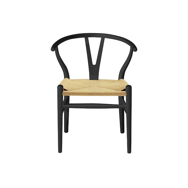 Tyrus Dining Table 2m with 4 Wishbone Chair Replica in Black, Natural Cord - 8