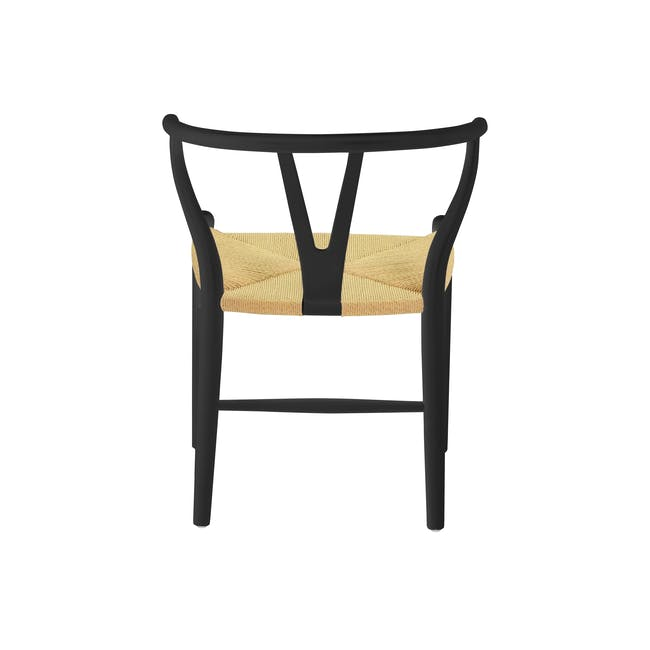 Tyrus Dining Table 2m with 4 Wishbone Chair Replica in Black, Natural Cord - 9
