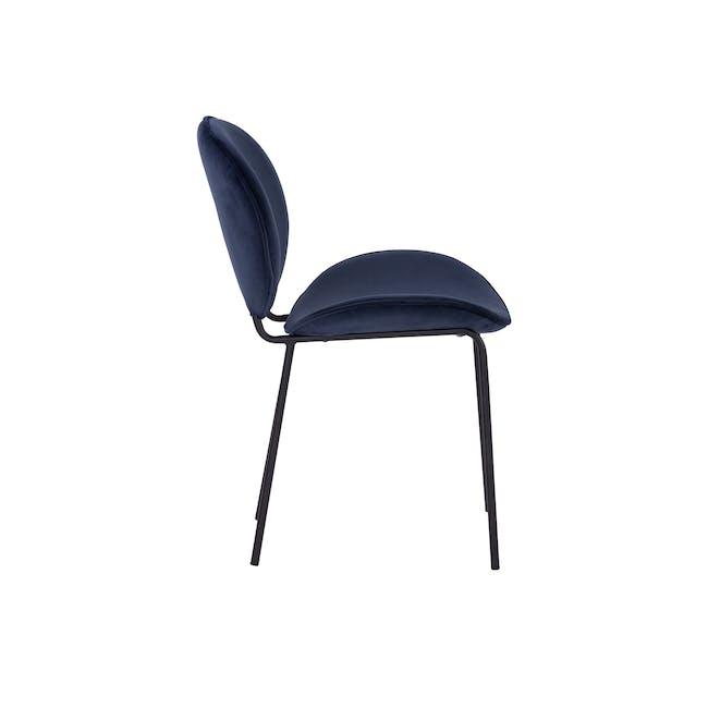 Ormer Dining Chair - Matt Black, Navy (Fabric) - 1