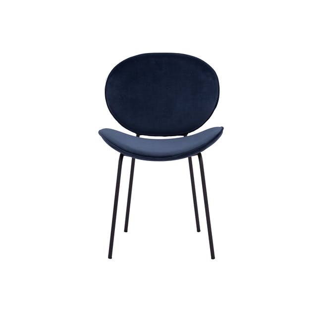 Ormer Dining Chair - Matt Black, Navy (Fabric) - 2
