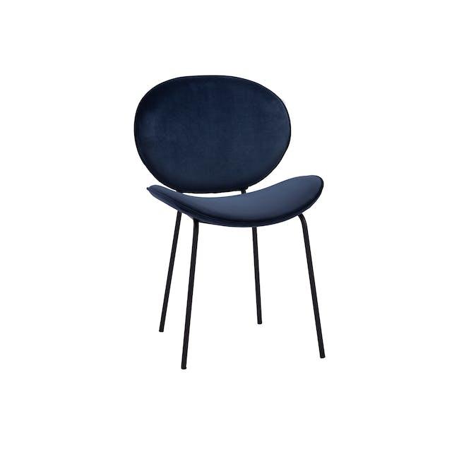 Ormer Dining Chair - Matt Black, Navy (Fabric) - 0