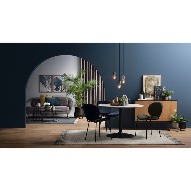 Ormer Dining Chair - Matt Black, Navy (Fabric) - 4