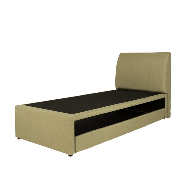 ESSENTIALS Super Single Trundle Bed - Khaki (Fabric) - 2