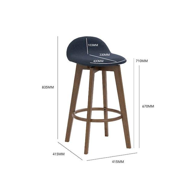 Mora Bar Chair - Walnut, Navy - 4