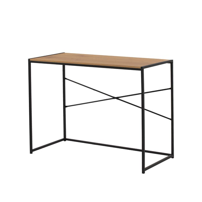 Bradford Study Console Table 1m - Black, Oak - 0