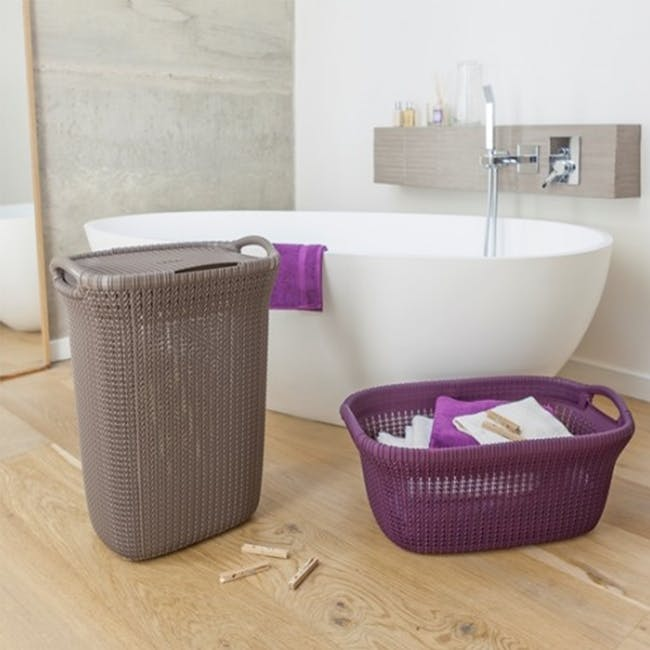 Knit Laundry Hamper with Lid 57L - Harvest Brown - 1