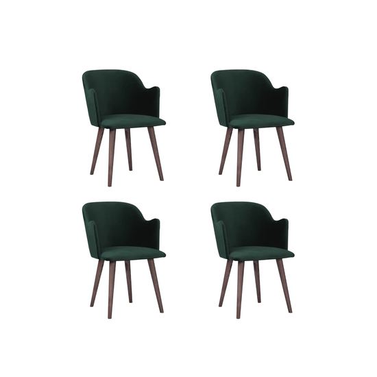HipVan Bundles - 4 Anneli Dining Arm Chairs in Walnut, Dark Green (Velvet)