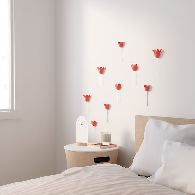 Bloomer Wall Decor - Coral (Set of 9) - 1