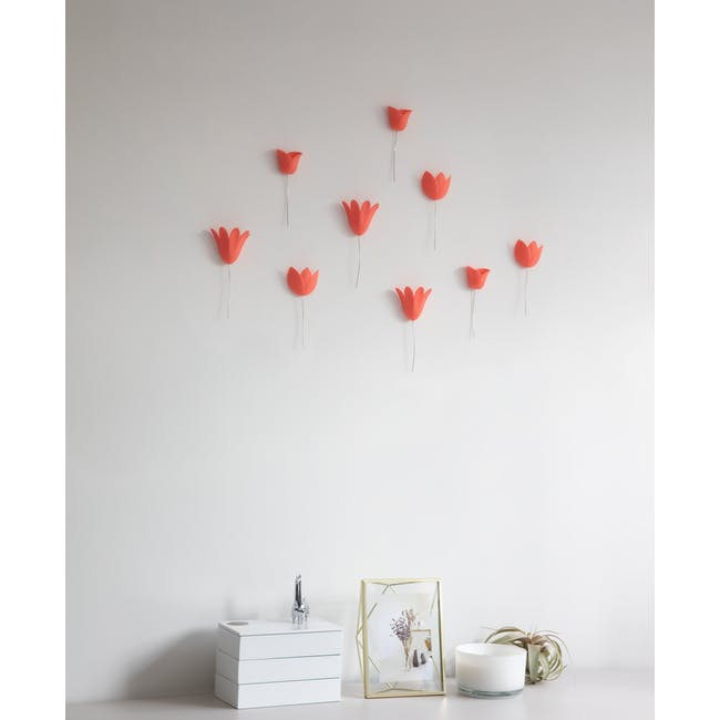 Bloomer Wall Decor - Coral (Set of 9) - 5