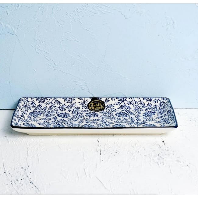 Table Matters Floral Blue Sushi Plate - 1