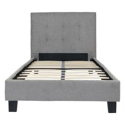Onyx Single Headboard Bed w/ SLEEP Mattress - Light Grey - Image 2