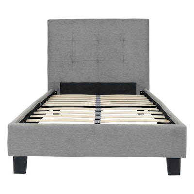 Onyx Single Headboard Bed w/ SLEEP Mattress - Light Grey