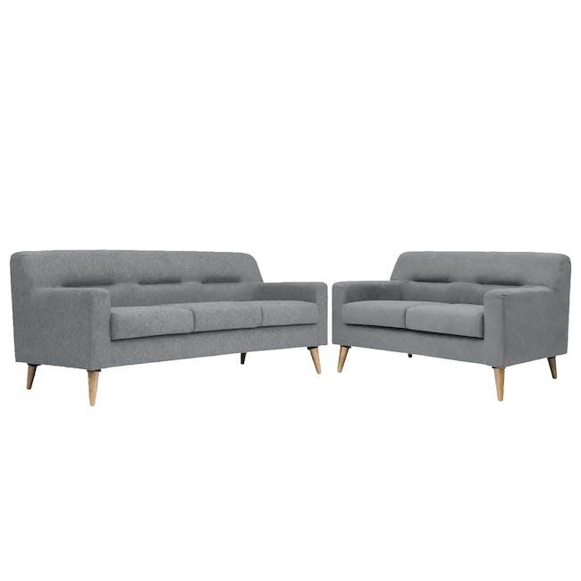 Damien 3 Seater Sofa with Damien 2 Seater Sofa - Heather Grey - 0