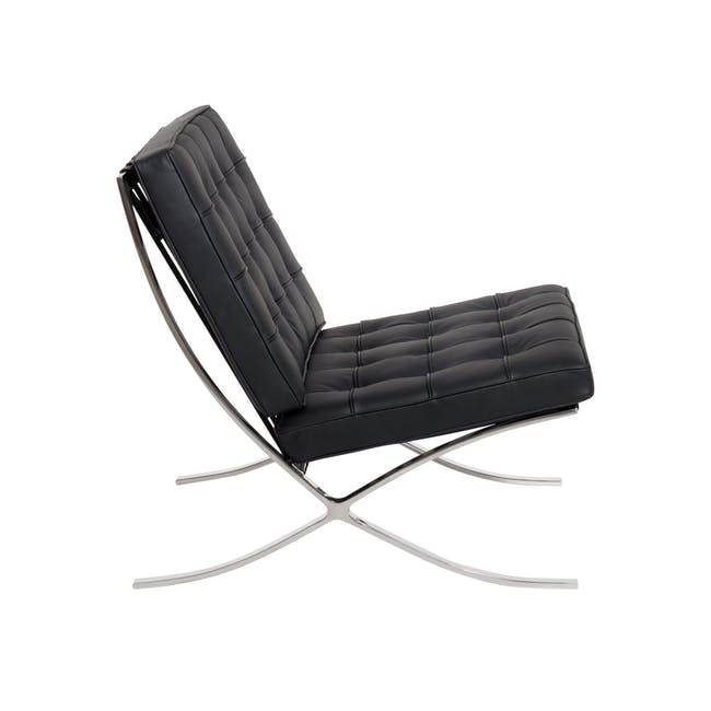 Barcelona Chair Replica - Black (Genuine Cowhide) - 2