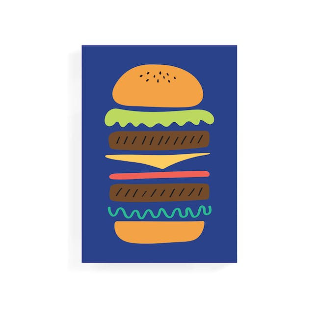Graphic Art Print on Stretched Canvas 50cm by 70cm - Burger - 0