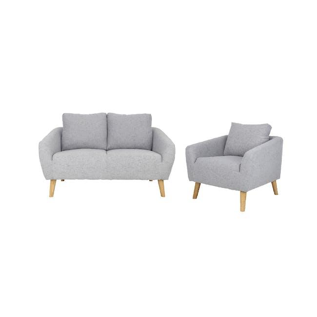 Hana 2 Seater Sofa with Hana Armchair - Light Grey - 0