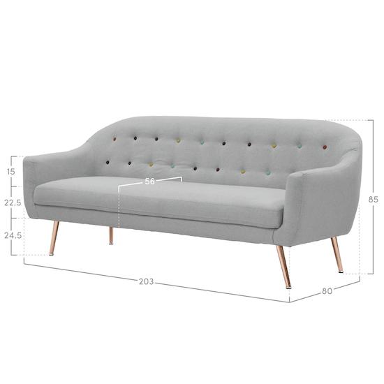 Estelle - Arden3 Seater Sofa- Grey