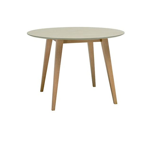 (As-is) Ralph Round Dining Table 1m - Natural, Taupe Grey - 4 - 0