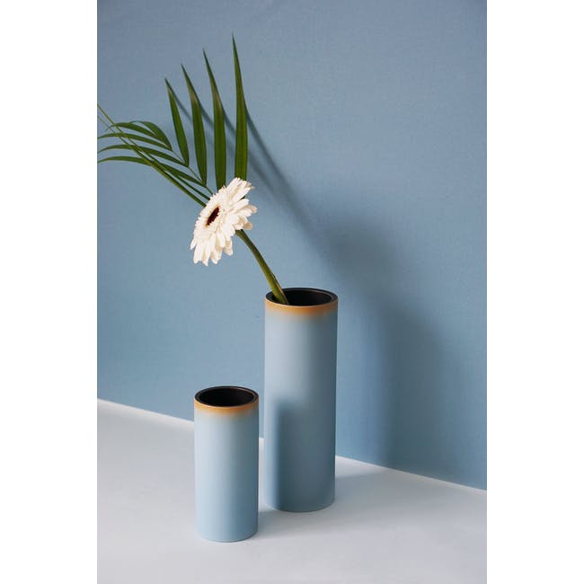Tubular Short Vase 15 cm - Sky Blue - 3