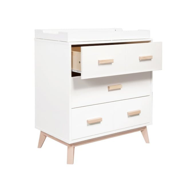 Babyletto Scoot 3-Drawer Dresser with Removable Changing Tray - White & Natural - 3