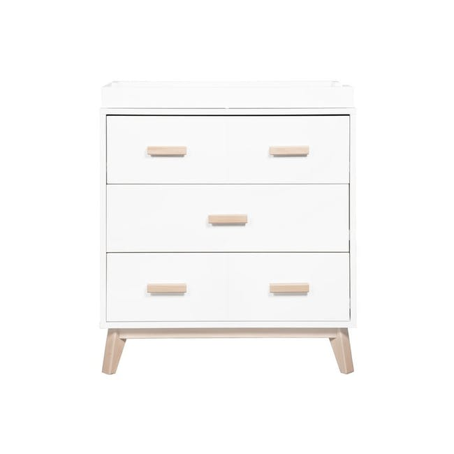 Babyletto Scoot 3-Drawer Dresser with Removable Changing Tray - White & Natural - 0