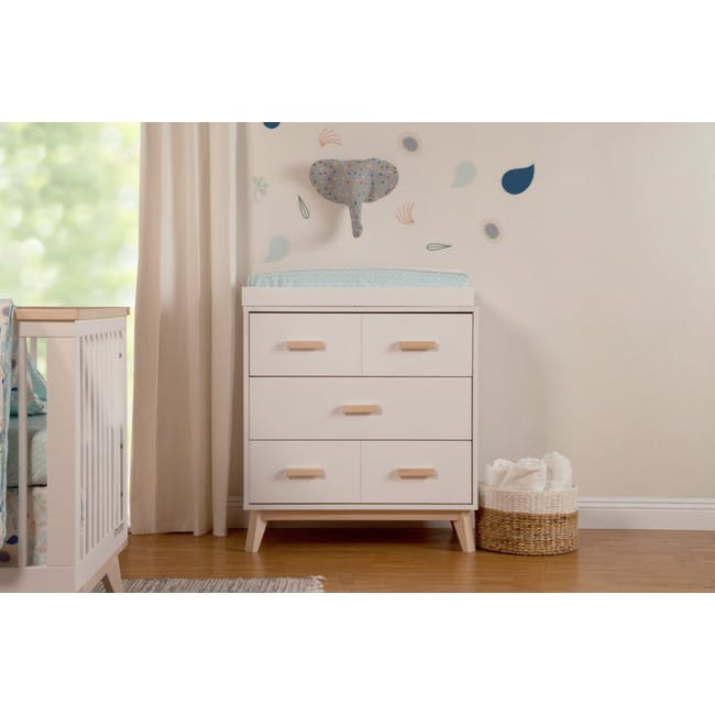 Babyletto Scoot 3-Drawer Dresser with Removable Changing Tray - White & Natural - 1