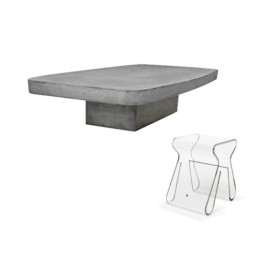 Ethan Concrete Coffee Table 1 2m with Magino Stool with Magazine Rack