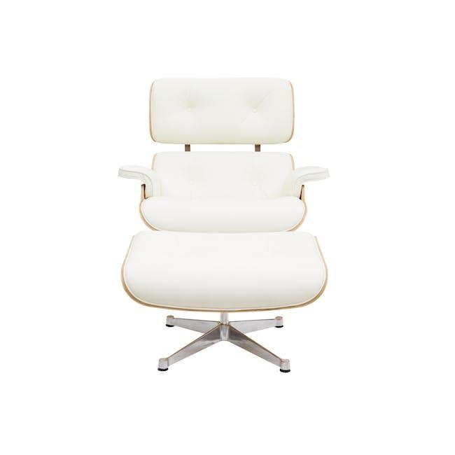 Eames Lounge Chair and Ottoman Replica - White (Genuine Cowhide) - 3