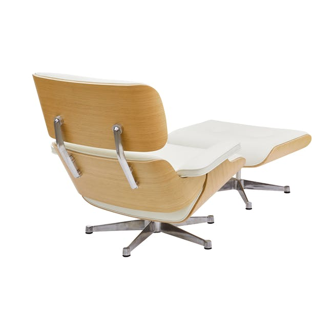 Eames Lounge Chair and Ottoman Replica - White (Genuine Cowhide) - 2