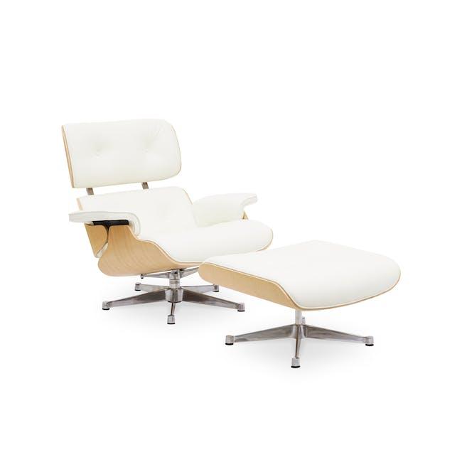 Eames Lounge Chair and Ottoman Replica - White (Genuine Cowhide) - 0