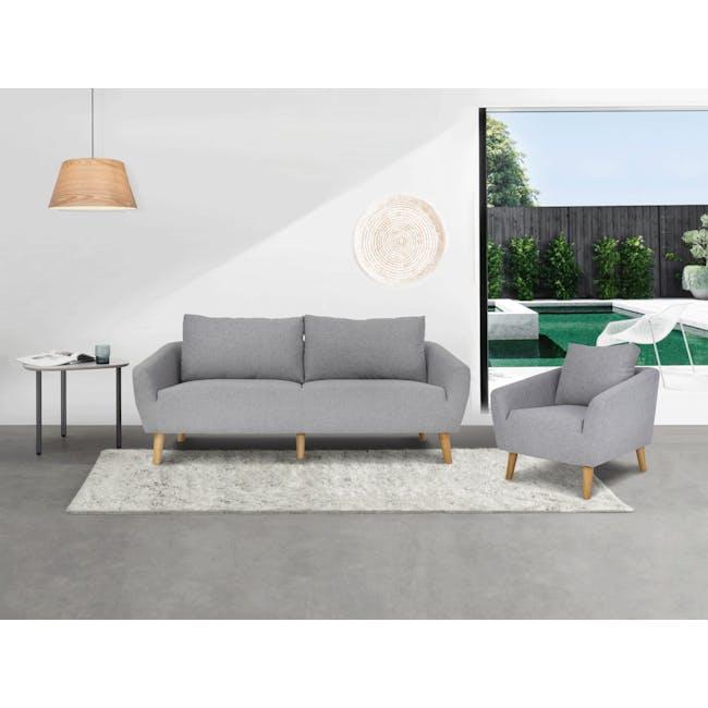 Hana 3 Seater Sofa with Hana Armchair - Light Grey - 1