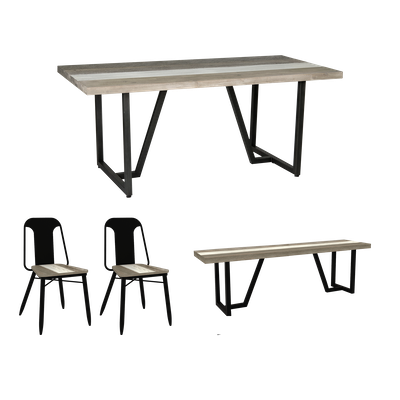 Xavier Dining Table 1.6m with Xavier Bench 1.3m and 2 Xavier Dining Chairs - Image 1