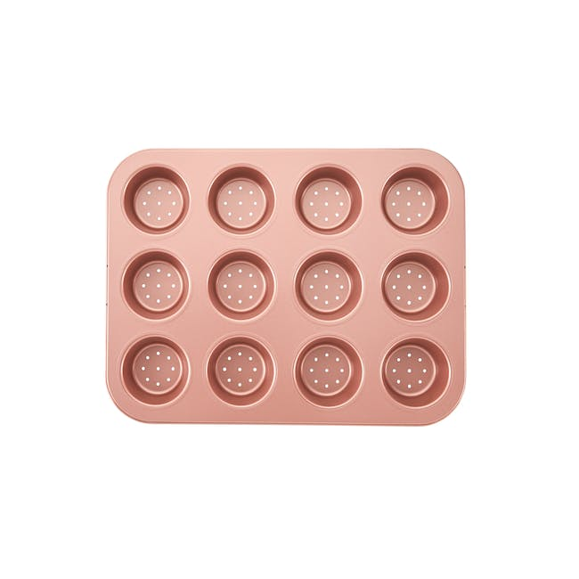 Wiltshire Rose Gold Perforated Mini Quiche & Tart Pan 12 Cup - 0