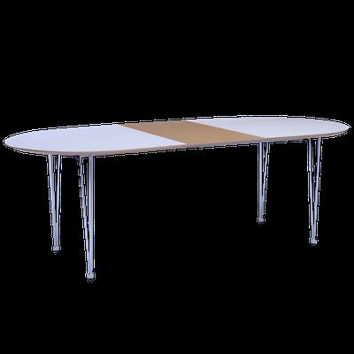 Rikku Extendable Dining Table 1.7m - White, Oak, Chrome - Image 2