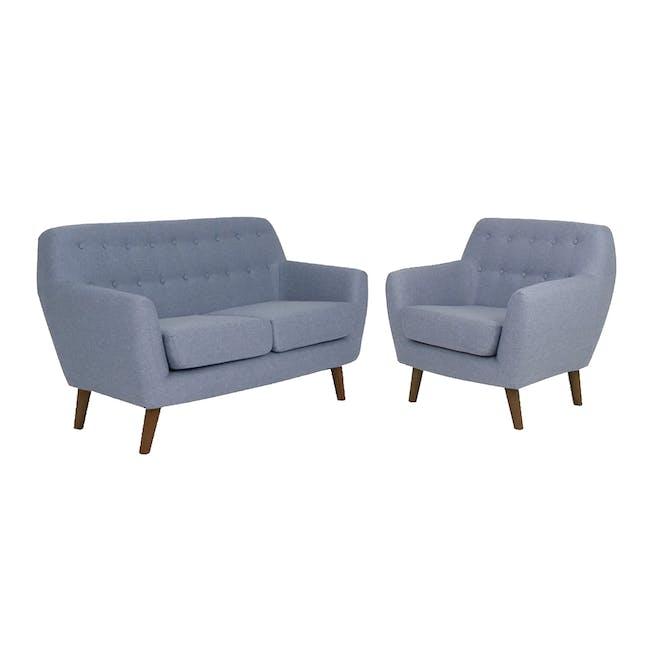 Emma 2 Seater Sofa with Emma Armchair - Dusk Blue - 0