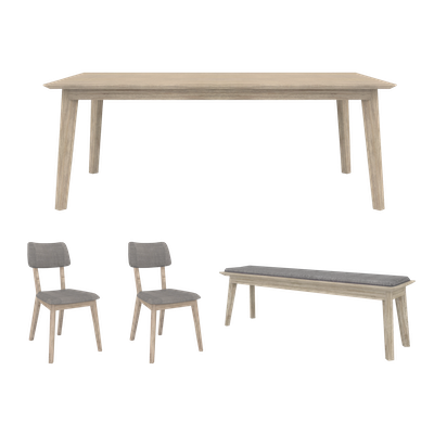 Leland Dining Table 1.8m with Leland Cushioned Bench 1.5m and 2 Leland Dining Chairs - Image 1