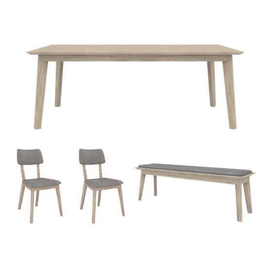 Hipvan Bundles Leland Dining Table 1 8m With Leland Cushioned Bench