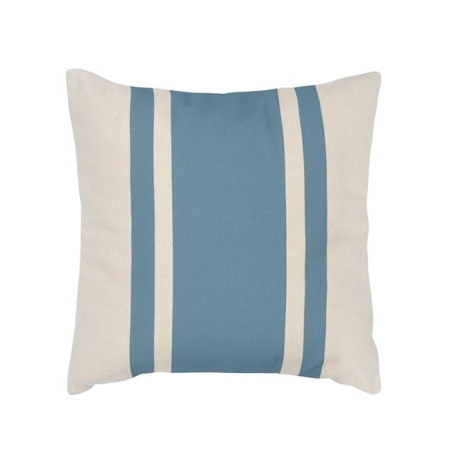 Bold Stripe Linen Cushion - Blue - 0