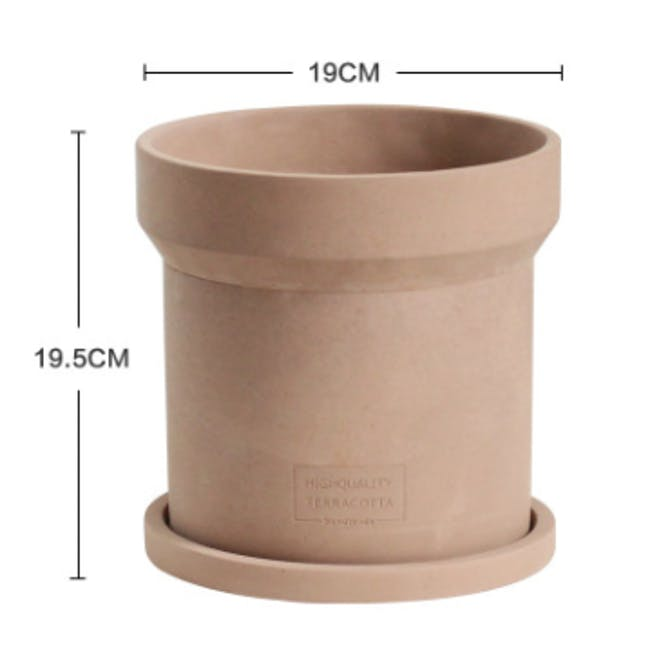 Mario Terracotta Pot with Saucer  - Large - 2