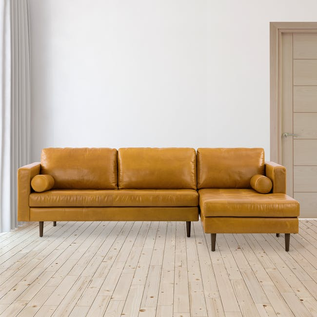 Nolan L-Shaped Sofa - Butterscotch (Premium Waxed Leather) - 1