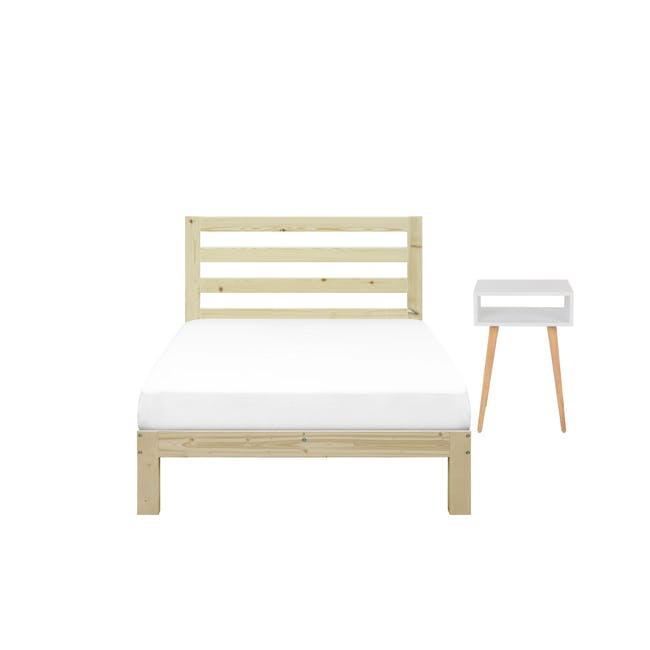 Katana Super Single Headboard Bed with 1 Bowen Bedside Table in Natural, White - 0