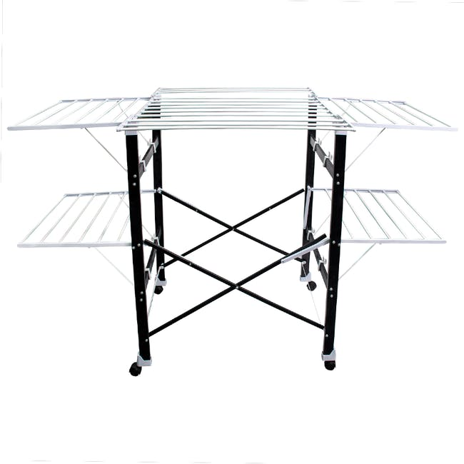 HOUZE 6 Fold Ultralight Clothes Drying Rack with Wheels - 0