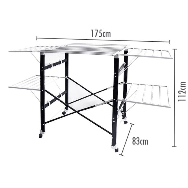 HOUZE 6 Fold Ultralight Clothes Drying Rack with Wheels - 1