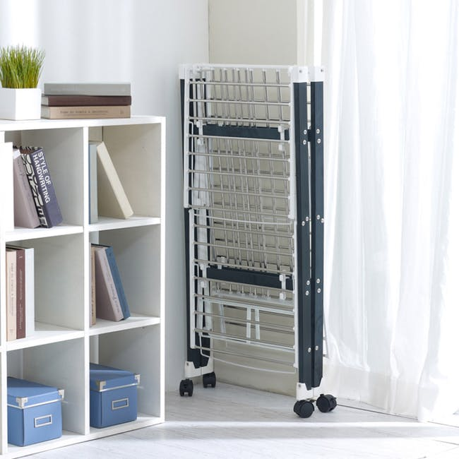 HOUZE 6 Fold Ultralight Clothes Drying Rack with Wheels - 2