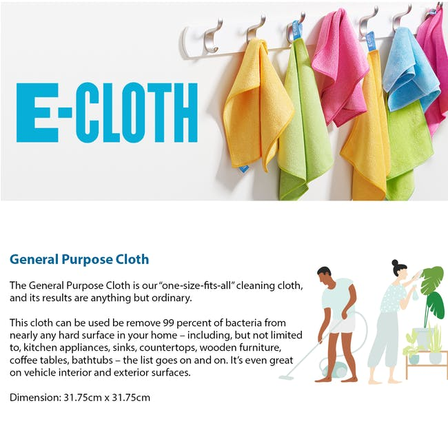 e-cloth General Purpose Eco Cleaning Cloth - Raspberry Pink - 2