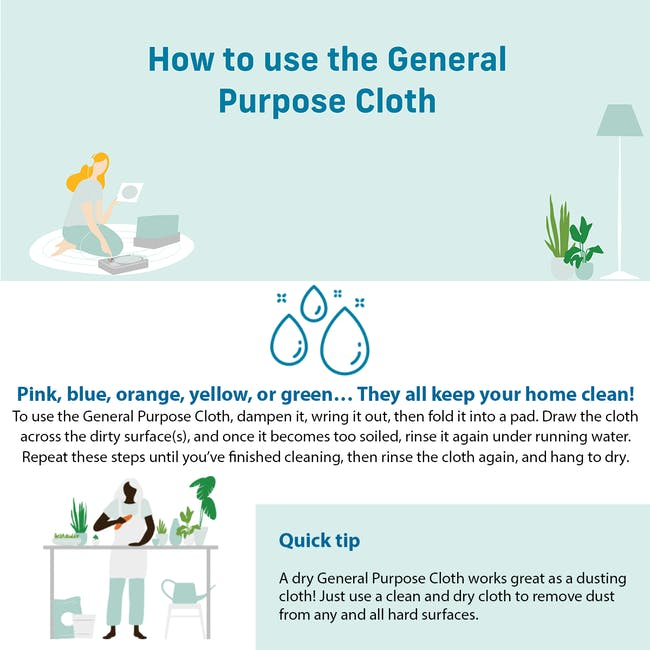 e-cloth General Purpose Eco Cleaning Cloth - Raspberry Pink - 3