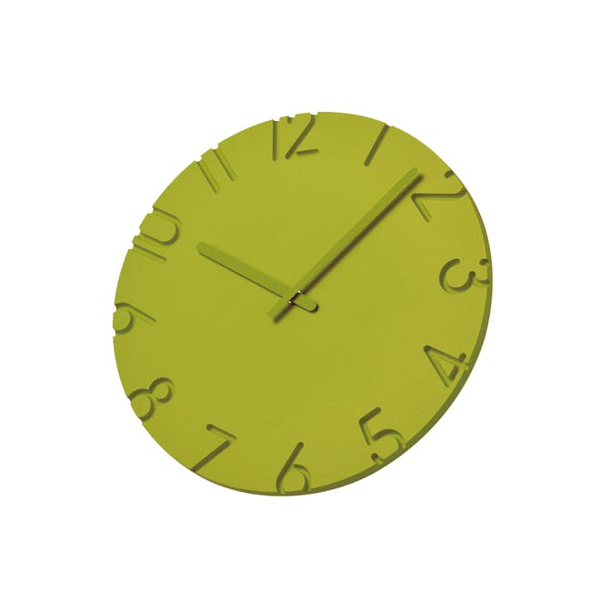 Carved Colored Clock - Green - 2 Sizes - 1