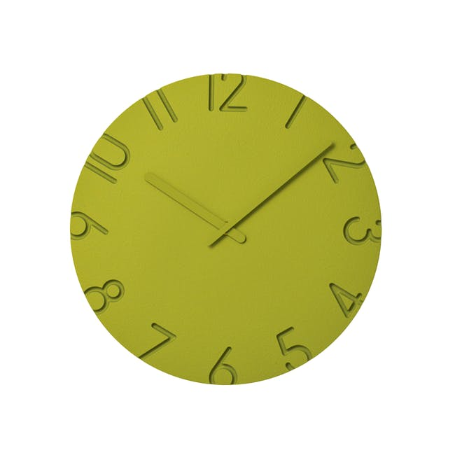 Carved Colored Clock - Green - 2 Sizes - 0