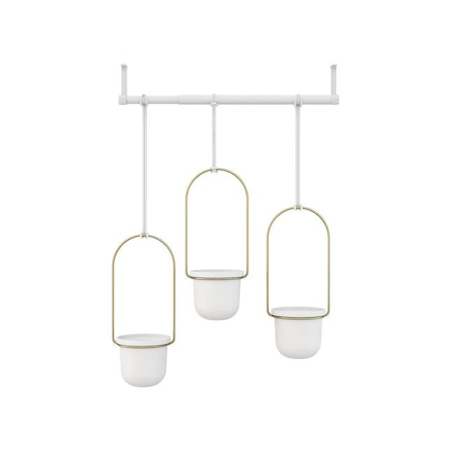 Triflora Hanging Planter - White, Brass (Set of 3) - 1
