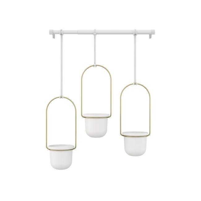 Triflora Hanging Planter - White, Brass (Set of 3) - 2